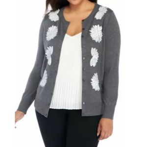 The Limited XL gray cardigan white sequin size XL